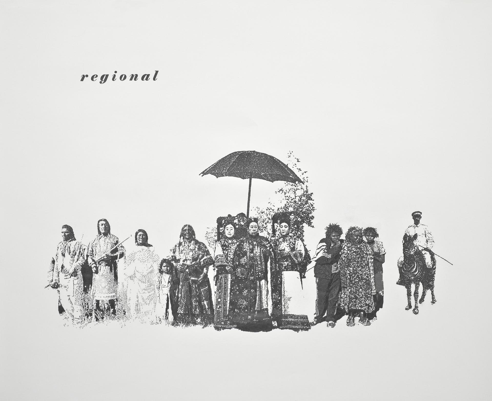 regional, Bleistift auf Papier, 110cm x 135cm, 2010