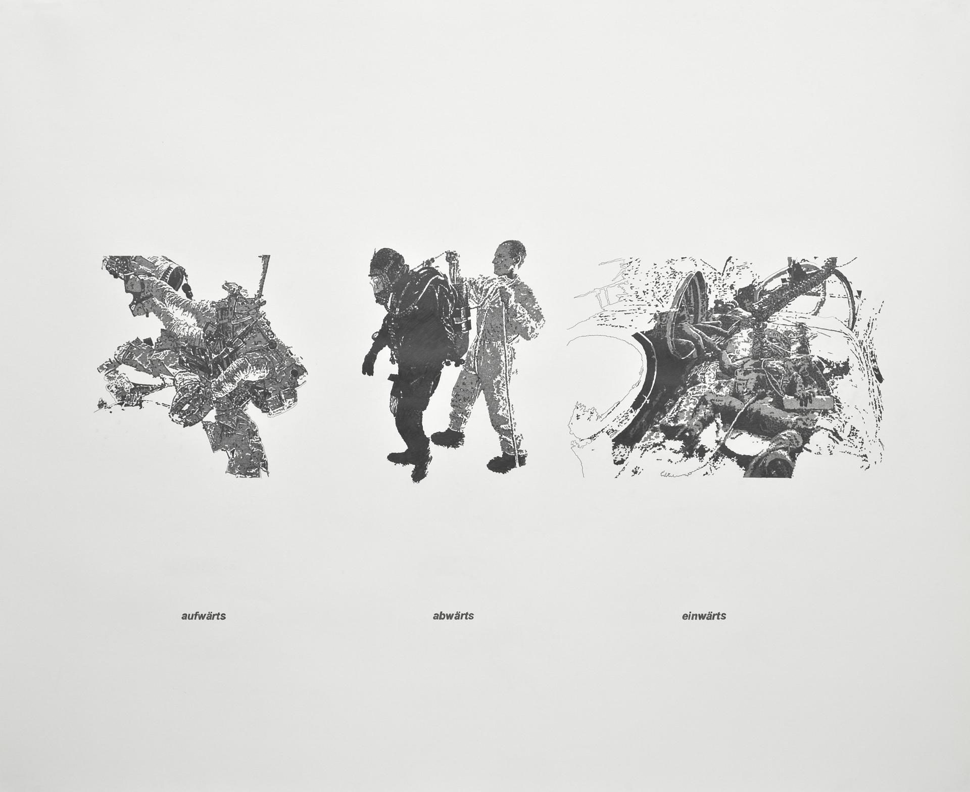 aufwärts, abwärts, einwärts, Bleistift auf Papier, 107cm x 132cm, 2007